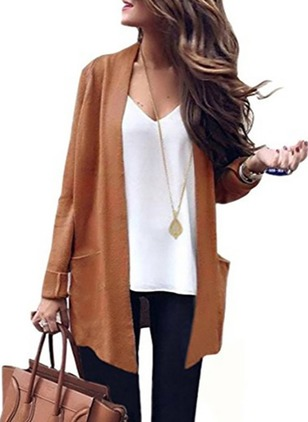 Polyester Long Sleeve Collarless Pockets Coats