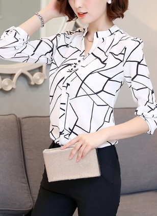 Casual Cotton High Neckline Long Sleeve Blouses
