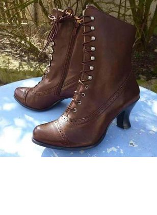 Women's Lace-up Mid-Calf Boots Spool Heel Boots