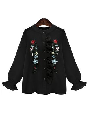 Plus Size Floral Casual V-Neckline Long Sleeve Blouses