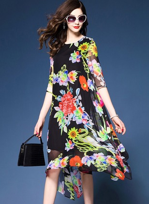 Floral Lace 3/4 Sleeves Knee-Length Shift Dress