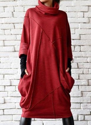 Casual Solid Tunic High Neckline A-line Dress