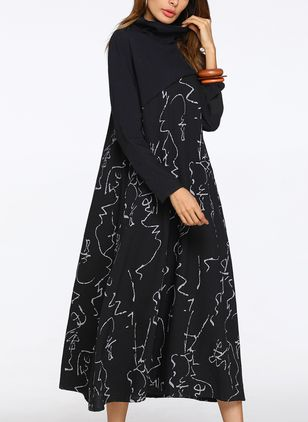 Geometric Long Sleeve Midi Shift Dress