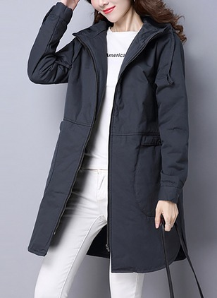 Cotton & Cotton Blend Long Sleeve Hooded Pockets Duffle Coats Coats