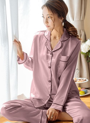 Polyester Collar Color Block Pockets Pajamas