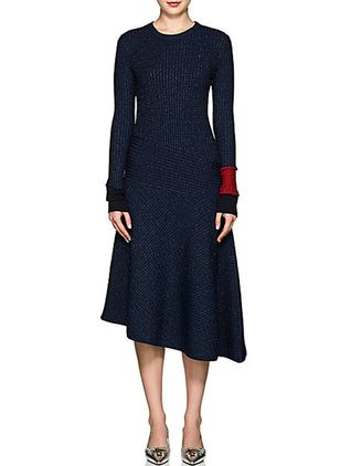 Color Block Sweater Long Sleeve Midi X-line Dress