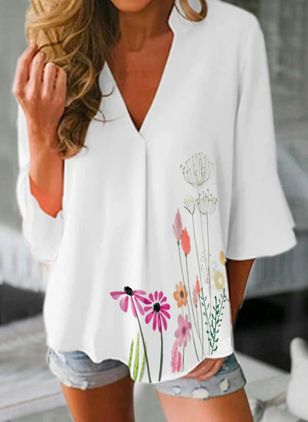 Floral V-Neckline 3/4 Sleeves Casual T-shirts (104534664)