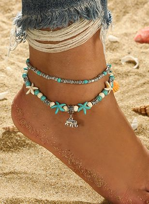 Casual Gemstone Ball Star Animal Anklet (4127001)