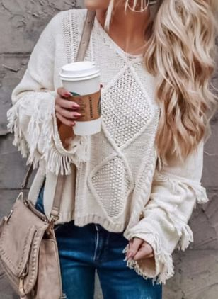 Round Neckline Solid Loose Regular None Sweaters