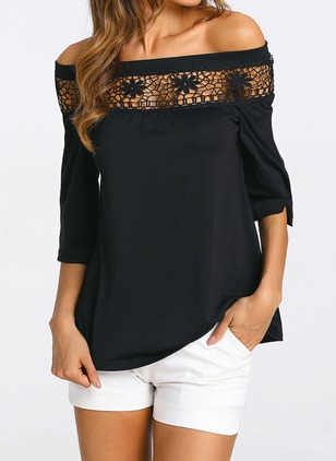 Cotton Solid Oblique Neckline 3/4 Sleeves Casual T-shirts