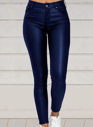 Casual Skinny Zipper High Waist Polyester Leggings (146884328)