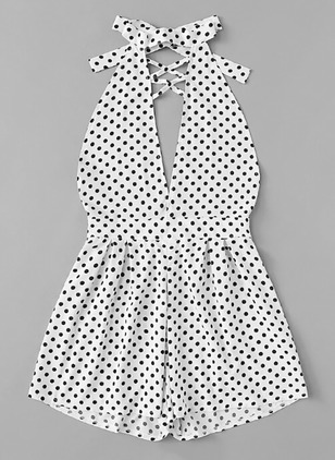 Polyester Polka Dot Sleeveless Backless Jumpsuits & Rompers