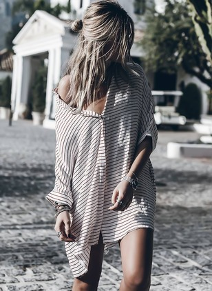 Stripe Buttons Shirt Above Knee Shift Dress
