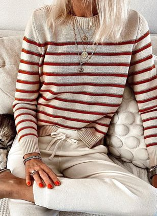 Round Neckline Stripe Casual Loose Regular Shift Sweaters (5999913)