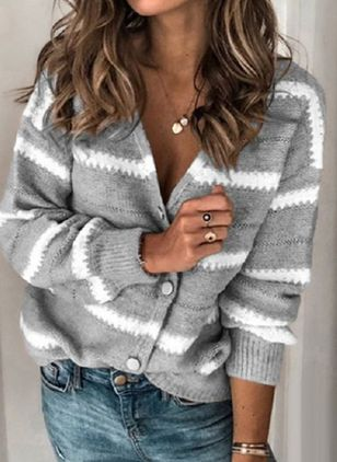 Long Sleeve V-neck Buttons Sweaters Coats (108858476)