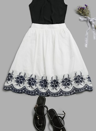 Floral Mid-Calf Embroidery Skirts