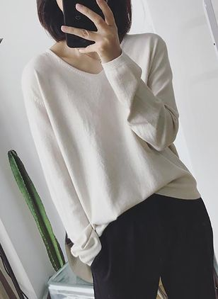 V-Neckline Solid Loose Regular Shift Sweaters