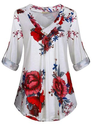 Plus Size Floral Casual V-Neckline Half Sleeve Blouses