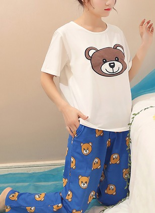 Polyester Round Neckline Animal Pockets Pajamas