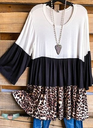 Casual Leopard Tunic Round Neckline Shift Dress (101985817)