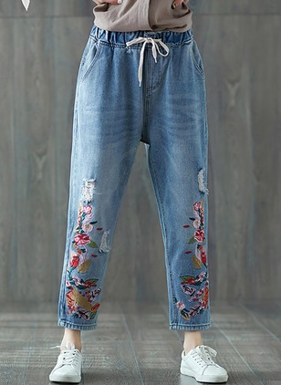 Straight Denim Jeans Pants & Leggings