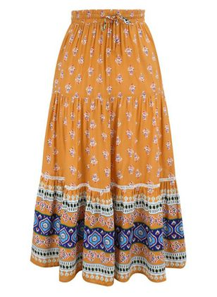 Floral Mid-Calf Casual Skirts (146746826)
