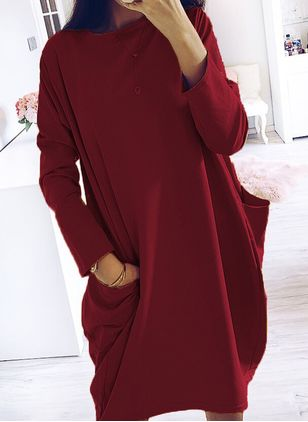 Casual Solid Tunic Round Neckline Shift Dress (106822435)