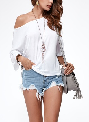 Cotton Solid Oblique Neckline Short Sleeve Sexy T-shirts