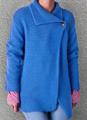 Long Sleeve Collar Buttons Sweaters Coats (146712341)