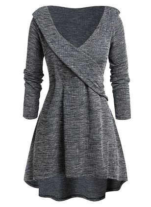 Casual Solid Sweater V-Neckline X-line Dress (1490973)
