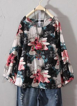 Plus Size Floral Casual Round Neckline Long Sleeve Blouses (6211737)