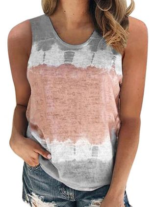 Color Block Round Neck Sleeveless Casual T-shirts (4043522)