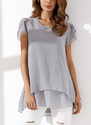 Solid Arabian Cotton Others Short Sleeve Blouses