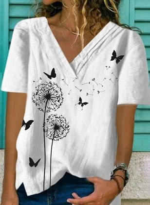 Animal Casual V-Neckline Short Sleeve Blouses (4038142)