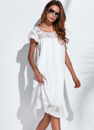 Boho Solid None Round Neckline Shift Dress (1041725)