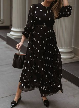 Chic Polka Dot Round Neckline Maxi X-line Dress (5999924)
