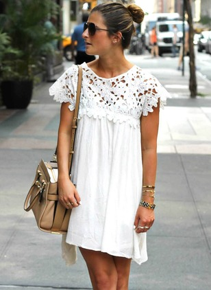Cotton Solid Lace Short Sleeve Shift Dress