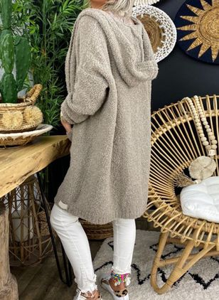 Long Sleeve Hooded Pockets Sweaters Coats (104918500)