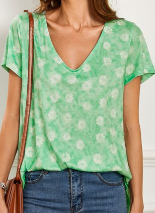 Floral V-Neckline Short Sleeve Casual T-shirts (4219599)