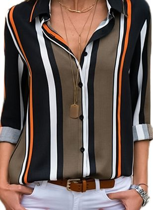 Stripe Casual Collar Long Sleeve Blouses