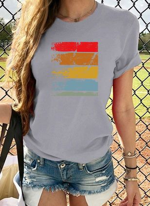 Color Block Round Neck Short Sleeve Casual T-shirts (1516178)