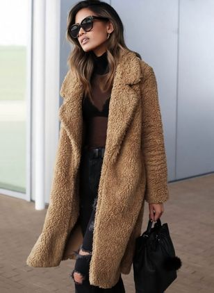 Long Sleeve Lapel Fur Coats