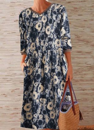 Casual Floral Tunic V-Neckline Shift Dress (109973788)