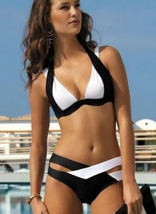 Plus Size Polyester Color Block With Rim Bikinis, Swimwear
