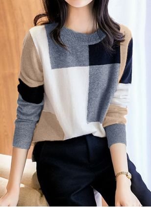 Round Neckline Color Block Casual Loose Regular Shift Sweaters (146712309)
