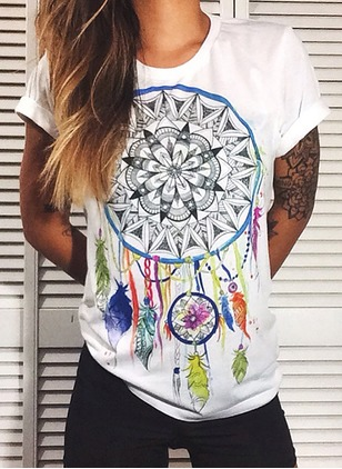 Cotton Floral Round Neck Short Sleeve T-shirts