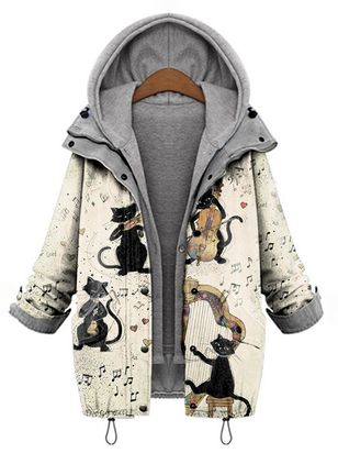 Long Sleeve Hooded Buttons Zipper Coats (146654428)