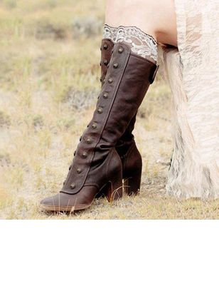 Rivet Mid-Calf Boots Chunky Heel Shoes
