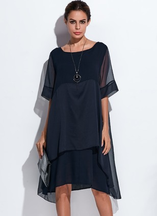 Casual Solid Round Neckline Knee-Length Shift Dress (1041826)