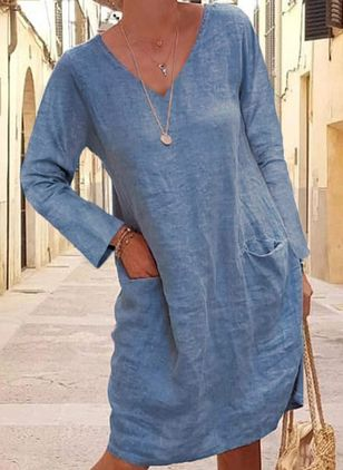 Casual Solid Tunic V-Neckline Shift Dress (101985773)